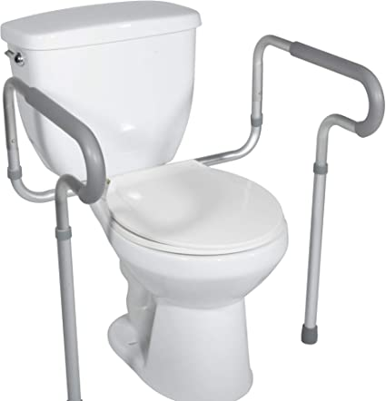 HEALTHLINE Toilet Safety Frame, Bathroom Safety Rail with Toilet Seat Assist Handrail Grab Bar, Medical Supply for Elderly, Adjustable Legs and Arm